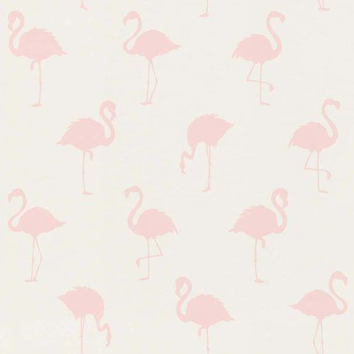 Vliestapete Kinder Flamingos weiß rosa 138918