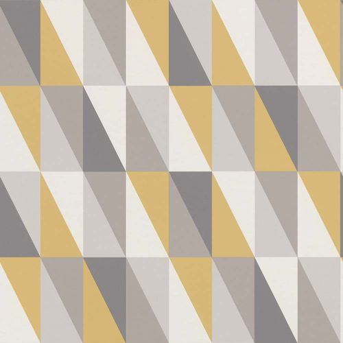 Vliestapete Kinder Vlies Dreiecke grau goldgelb 138921