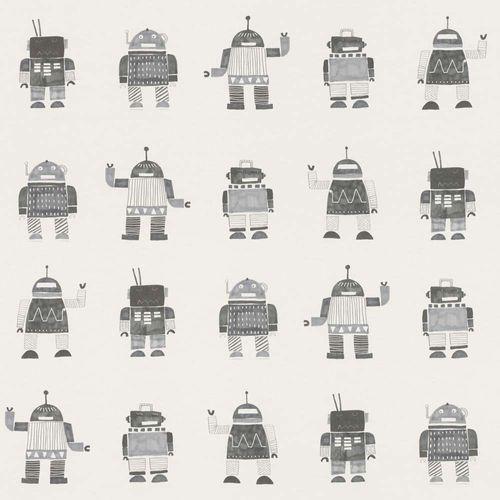 Vliestapete Kinder Roboter grau weiß 138939