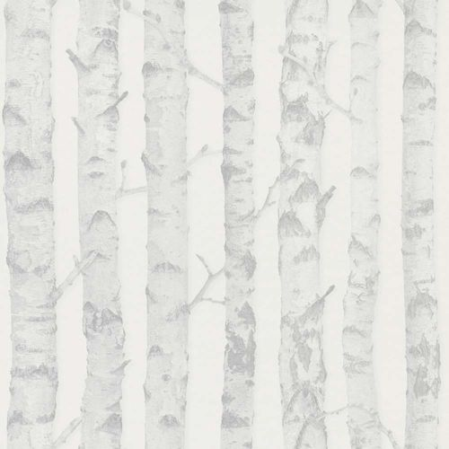 Wallpaper child Non-Woven Trees Birch light grey white 138944