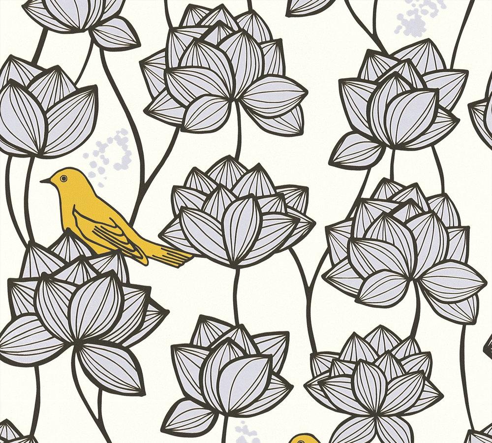 vlies tapete floral v gel wei grau as creation 36317 2. Black Bedroom Furniture Sets. Home Design Ideas
