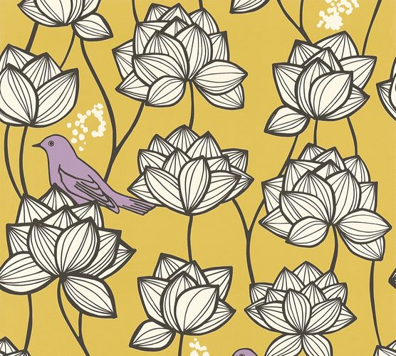 Vlies Tapete Floral Vögel goldgelb weiß AS Creation 36317-3