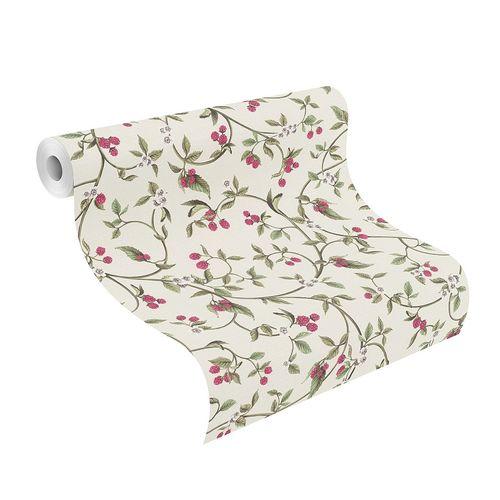 Vlies Tapete Beeren Floral weiß pink Rasch 400809