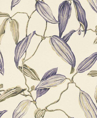 Wallpaper non-woven cacao leaf cream purple Rasch 525731 online kaufen