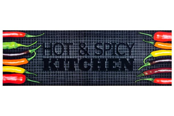 Küchenteppich Küchenläufer Hot & Spicy Chilli | grau rot orange