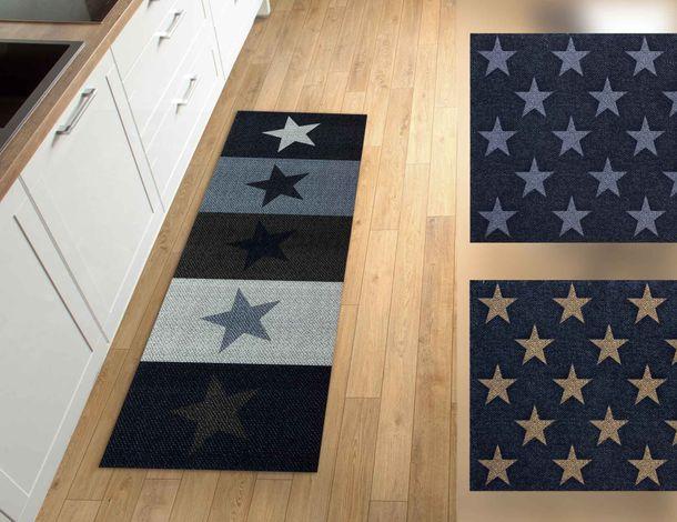 Küchenteppich Küchenläufer Sterne | braun grau online kaufen