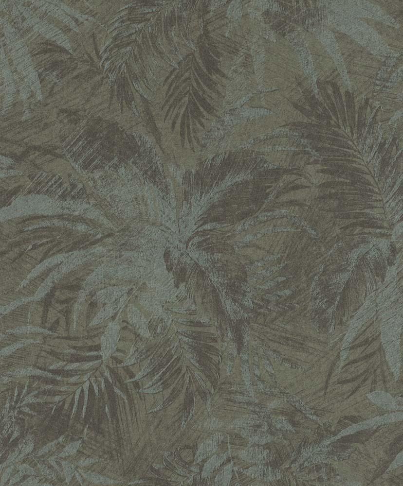 Tapete Vlies Blätter Grau Grün Glitzer Rasch Textil 229102
