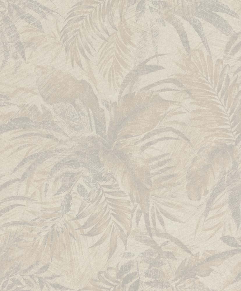 Tapete Vlies Blätter Beige Grau Glitzer Rasch Textil 229164