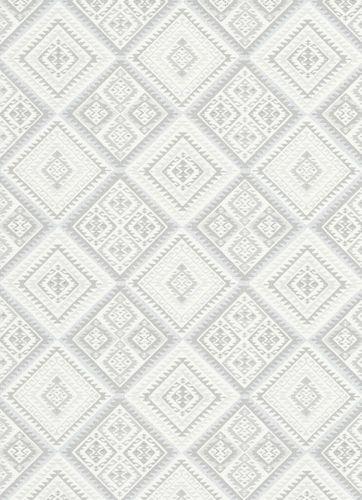 Vlies Tapete Azteken Design hellgrau weiß Erismann 5411-31
