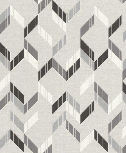 Vlies Tapete Rasch 3D Streifen grau schwarz Glanz 402834