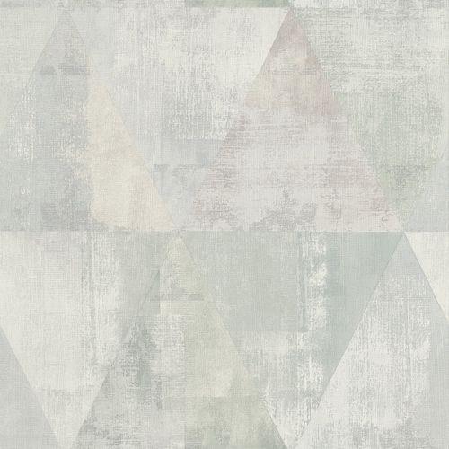Vlies Tapete Used Dreiecke grau graugrün Rasch 410952