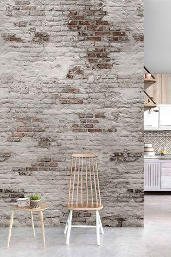 Raumbild Digitaldruck Vlies-Fototapete Backstein Wand grau