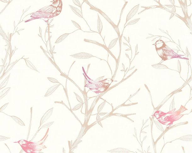 Non-Woven Wallpaper Bird pink brown livingwalls 36623-3