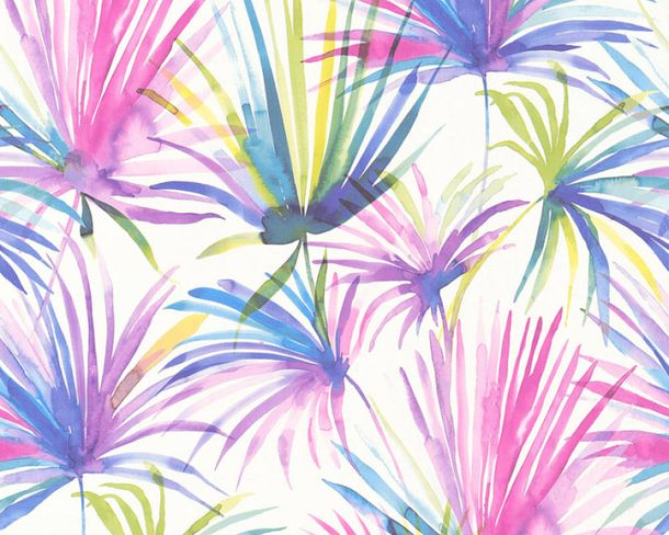 Vlies-Tapete Palmen Natur lila bunt livingwalls 36624-3 online kaufen