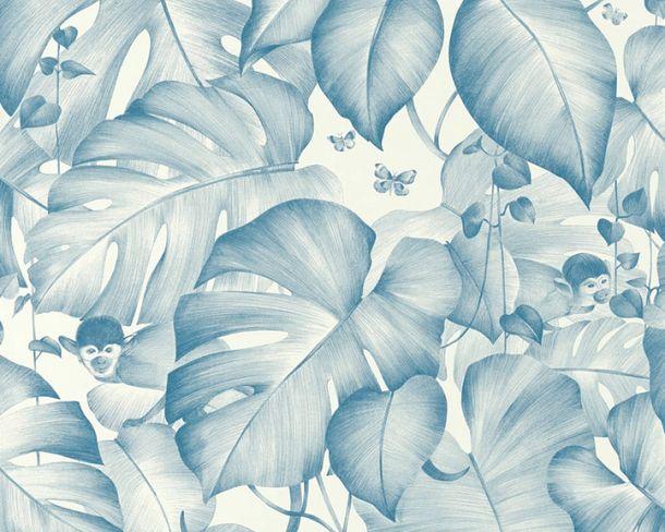 Vlies-Tapete Blätter Affen blau weiß livingwalls 36625-1 online kaufen