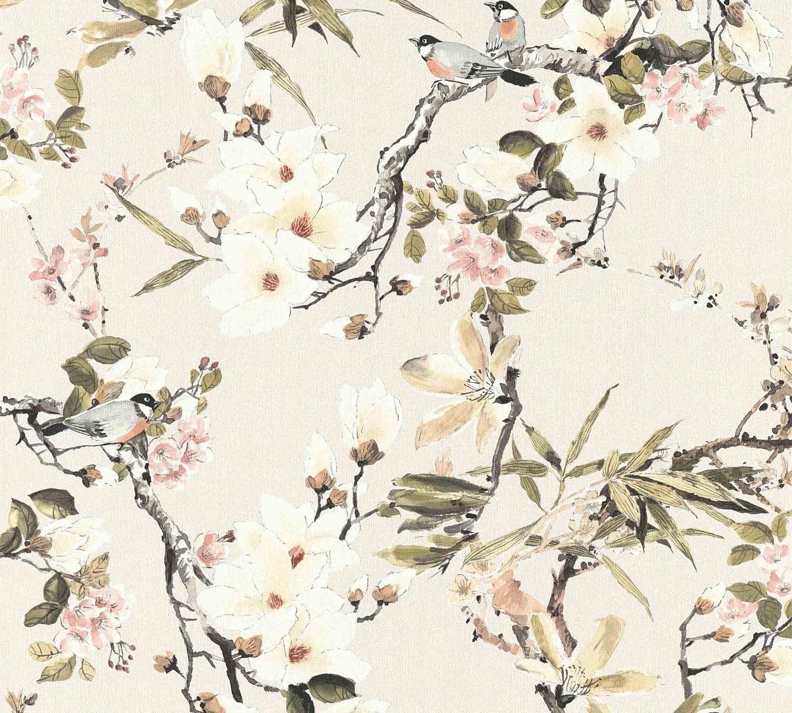 Michalsky Tapete Vlies Bluten Floral Creme Grun 36498 2