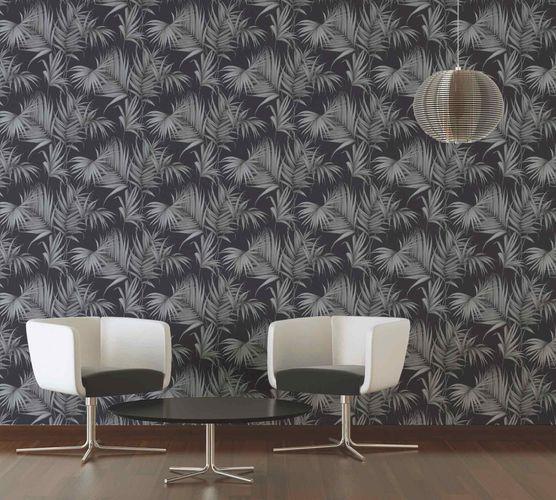Michalsky Tapete Vlies Palmblätter schwarz grau 36505-3 online kaufen