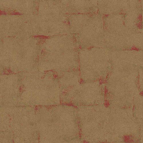 Rasch Vliestapete Kachel-Optik gold rot Glanz 528602