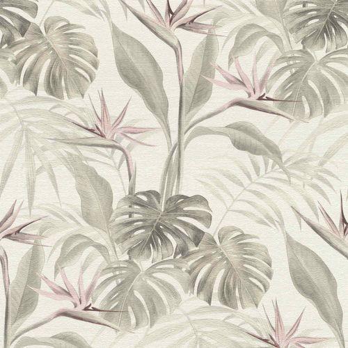 Rasch Vliestapete Tropisch Blätter creme hellgrau 529005 online kaufen