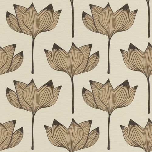 Non-Woven Wallpaper Blossoms Floral brown gold 530919 online kaufen
