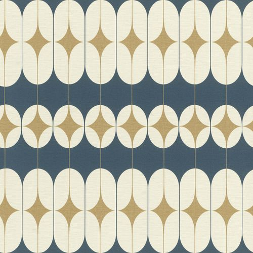 Tapete Vlies Retro-Design blau gold Glanz Onszelf 531145