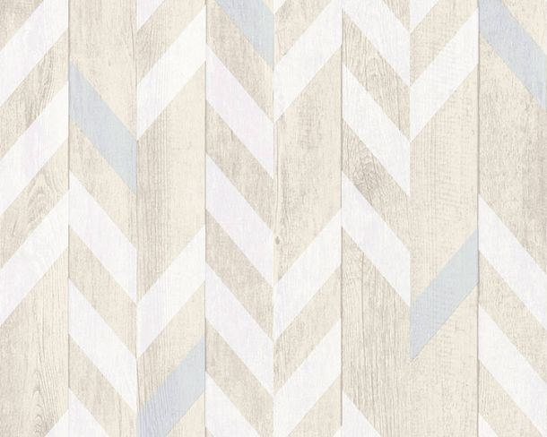 Wallpaper Non-Woven fishbone pattern wood white 36496-1 online kaufen