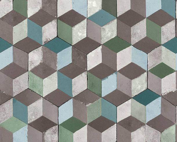 Wallpaper Non-Woven squares quadrat 3D turquoise 36662-1