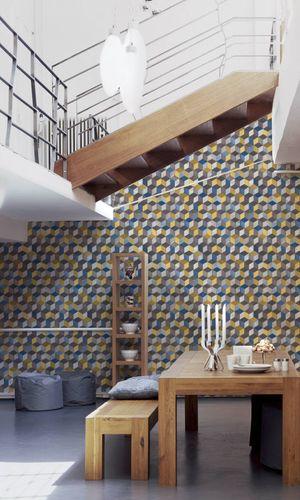 Wallpaper Non-Woven squares quadrat 3D yellow 36662-2 online kaufen