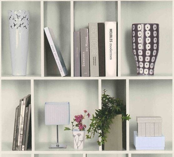 Wallpaper Non-Woven bookshelf plant decor white 36663-1 online kaufen