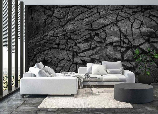 Premium Fototapete Vulkangestein schwarz Vlies 200g/m² online kaufen