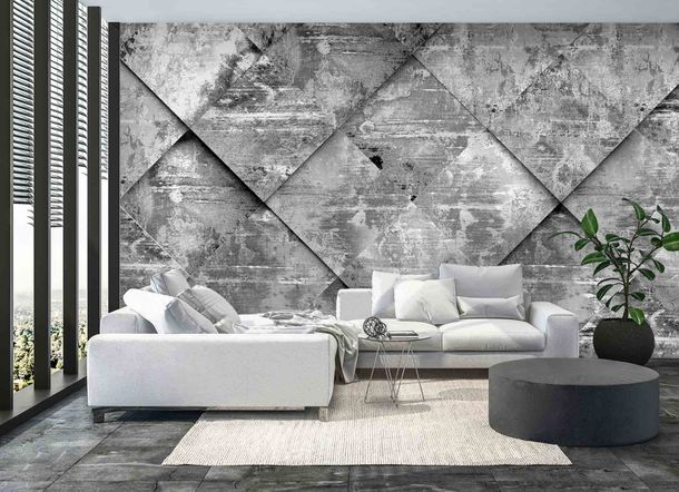 Digital Print Non-Woven Wall Mural Premium Tiles 3D grey
