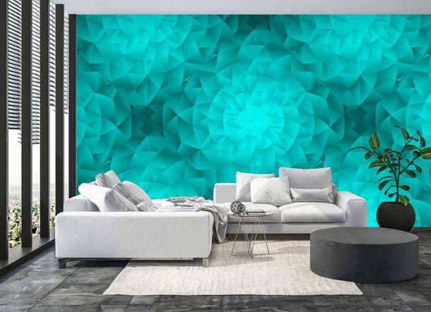 Digital Print Wall Mural Premium Kaleidoscope 3D turqoise online kaufen
