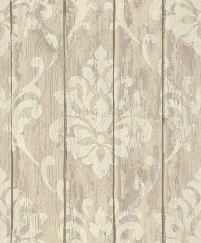 Tapete Vlies Ornament Holz Glitzer beige Rasch 625943