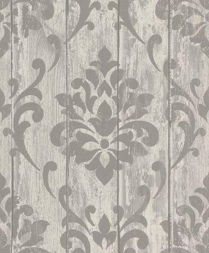 Tapete Vlies Ornament Holz Glitzer grau Rasch 625967 online kaufen
