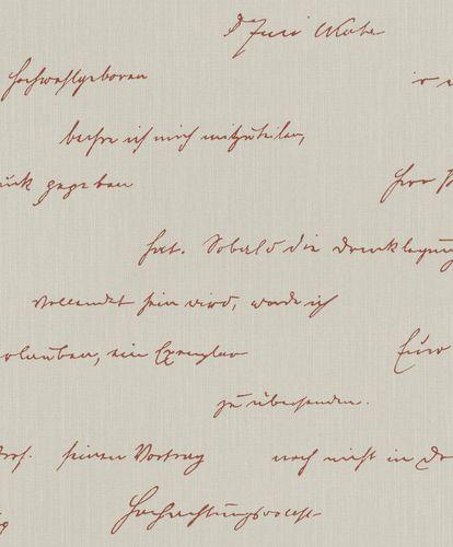 BARBARA Home Wallpaper Script beige red 522181