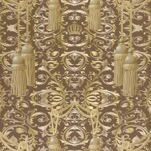 Non-Woven Wallpaper Baroque brown gold Gloss 52549