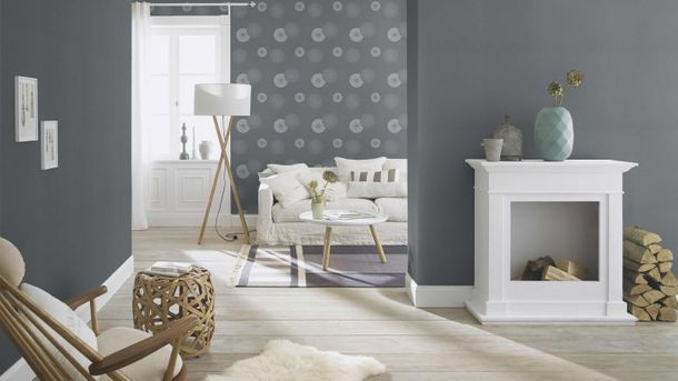 Non-woven wallpaper Rasch flower ornament grey 808803 online kaufen