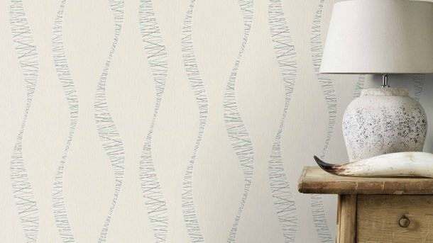 Non-woven wallpaper Rasch wavy stripes white 808933 online kaufen