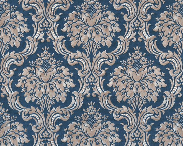 Non-Woven Wallpaper Baroque dark blue beige 36716-7