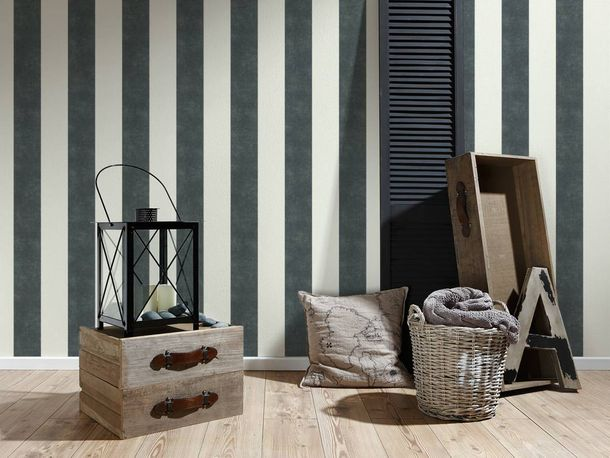 Non-Woven Wallpaper Stripes anthracite white 36718-1 online kaufen