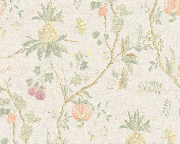 Non-Woven Wallpaper Tree Baroque grey green 36719-2