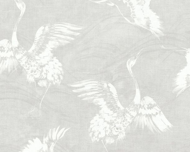 Non-woven Wallpaper Birds white Linen Style 36631-1
