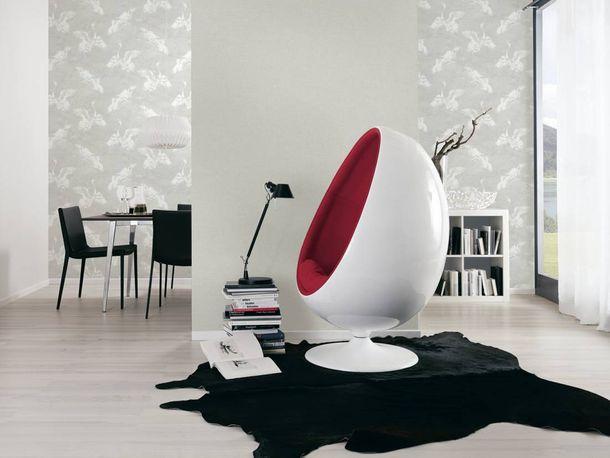 Non-woven Wallpaper Birds white Linen Style 36631-1 online kaufen