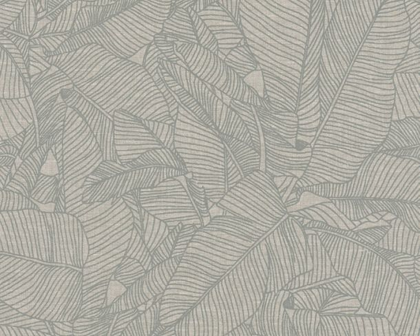 Non-woven Wallpaper Leaves grey Linen Style 36633-2