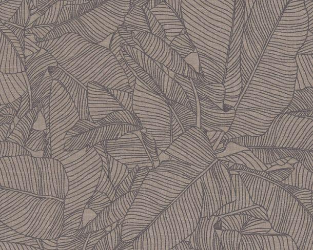 Non-woven Wallpaper Leaves black Linen Style 36633-4