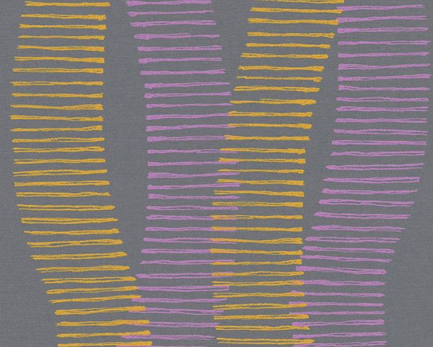 Non-woven Wallpaper Stripes orange Linen Style 36758-3