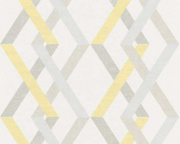 Non-woven Wallpaper Checks yellow Linen Style 36759-2