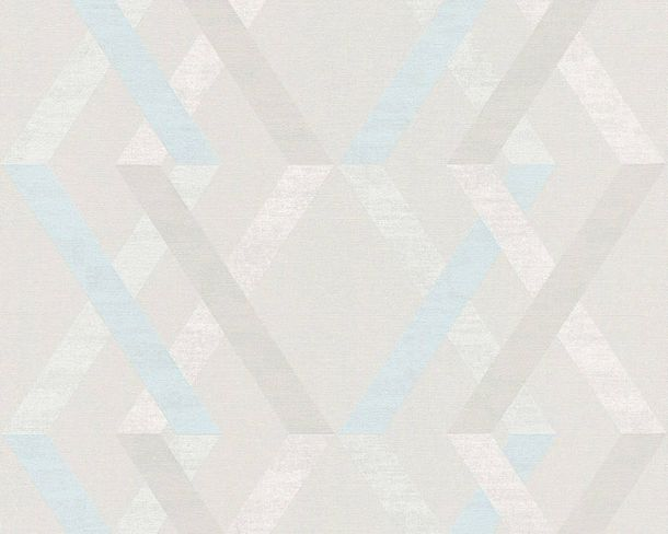 Non-woven Wallpaper Checks grey blue Linen Style 36759-3