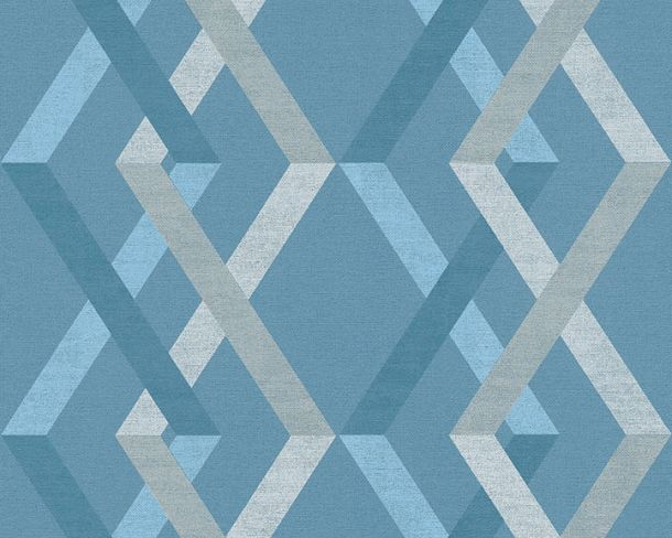 Non-woven Wallpaper Checks blue white Linen Style 36759-4