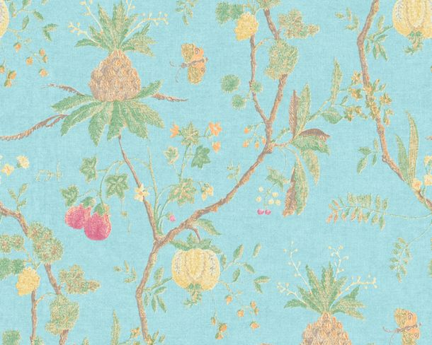 Non-Woven Wallpaper Tree Baroque blue green 36719-5